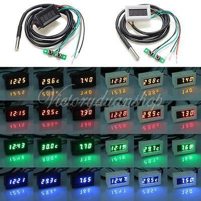VOLTMETRO 3 In 1 LED Thermometer Temperature temp Clock Auto Digital Voltmeter