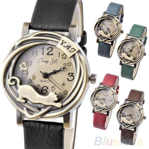 New Fashion Vintage Womens Bronze Case Cat Flower Quartz Analog Wrist Watch B8BU