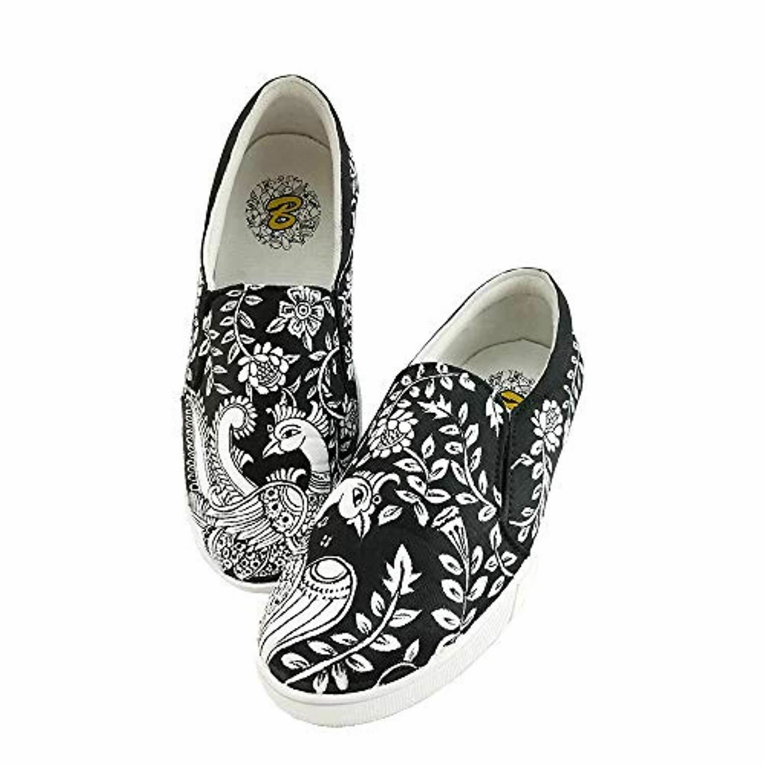 Women Canvas shoes Hand Painted Water Proof Kalamkari Designed shoes for Girls Co
