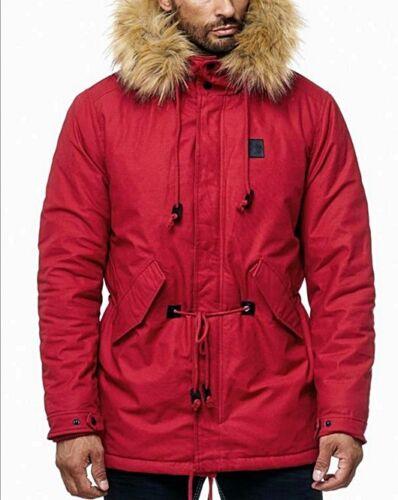 Exclusive Uomo Invernale Parka Cappuccio YOUNG MODE Style Fashion Pelliccia Cappotto Giacca