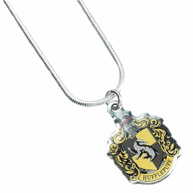 Harry Potter Hogwarts Hufflepuff House Crest Necklace Pendant - Silver Plated