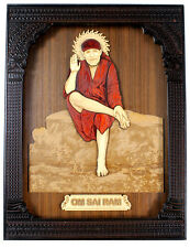 Wood Carved Royal Frame Wall Hanging of Satya Sai Baba Religious Hindu God
