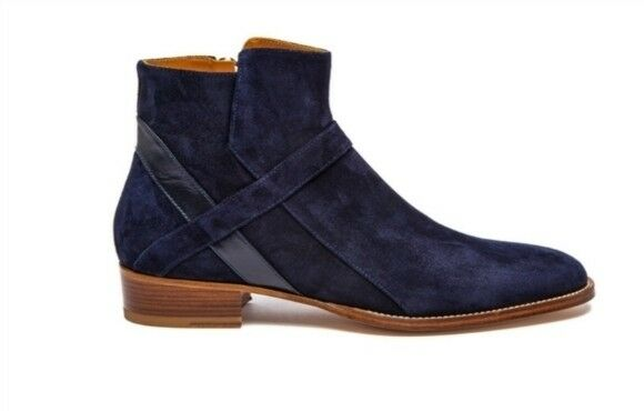 Handmade Men navy bluee Jodhpurs boot, Men side zipper ankle boot, Men's boot