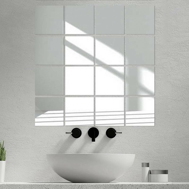 Home Decoration - 16Pcs DIY Home Decor Mirror Tiles Wall Sticker Square Self Adhesive Stick-On Art