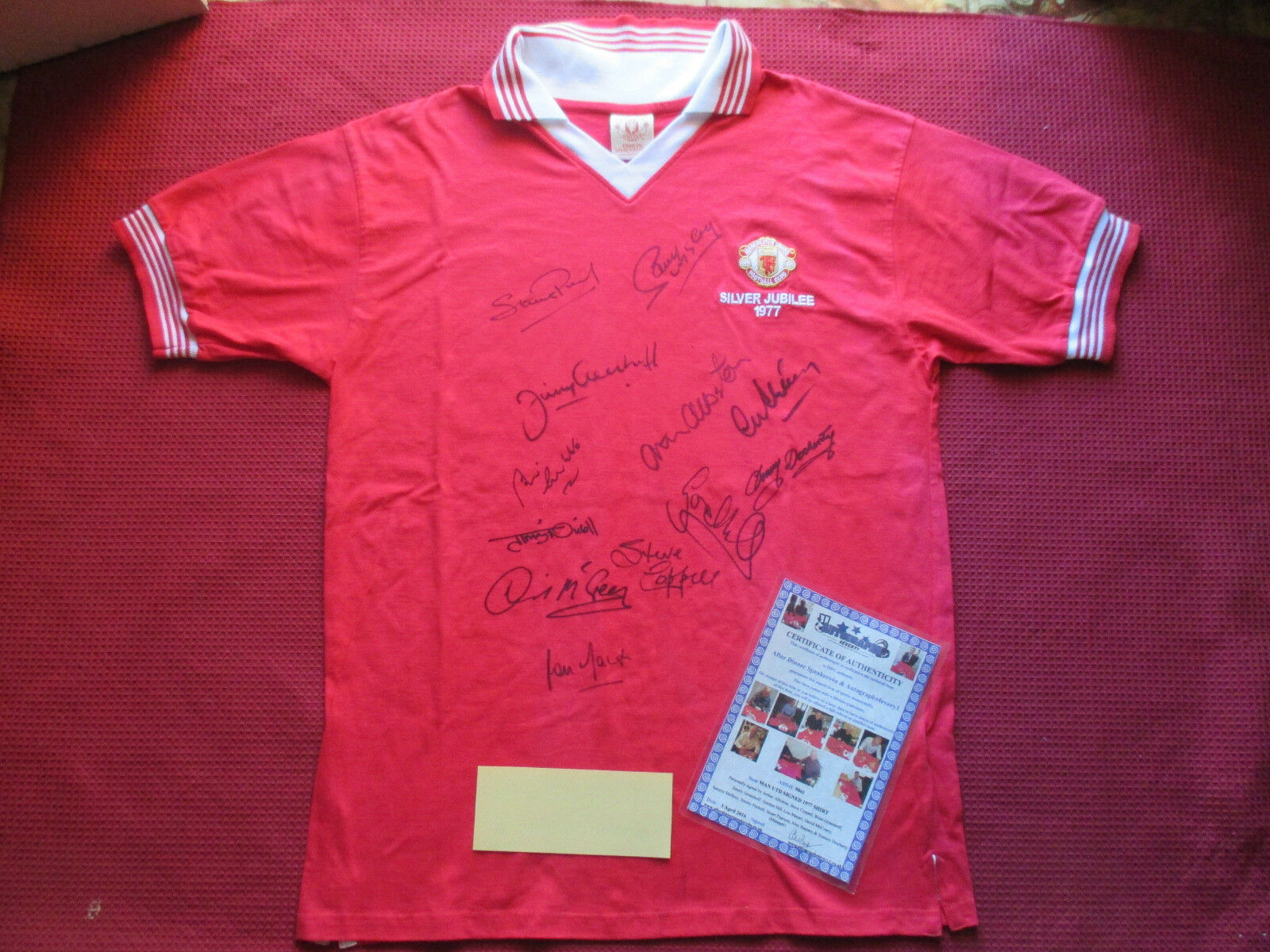 Manchester United 12 leyendas firmado 1977 Plata Jubileo Camiseta Jersey-foto prueba