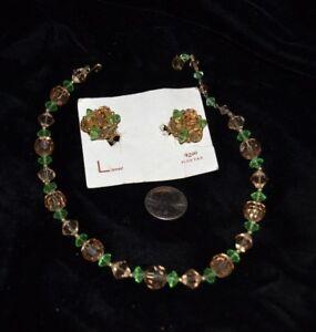 Vtg-LISNER-Demi-Parure-Necklace-Clip-Earrings-Cut-Crystal-Green-Brown-15-034-Signed
