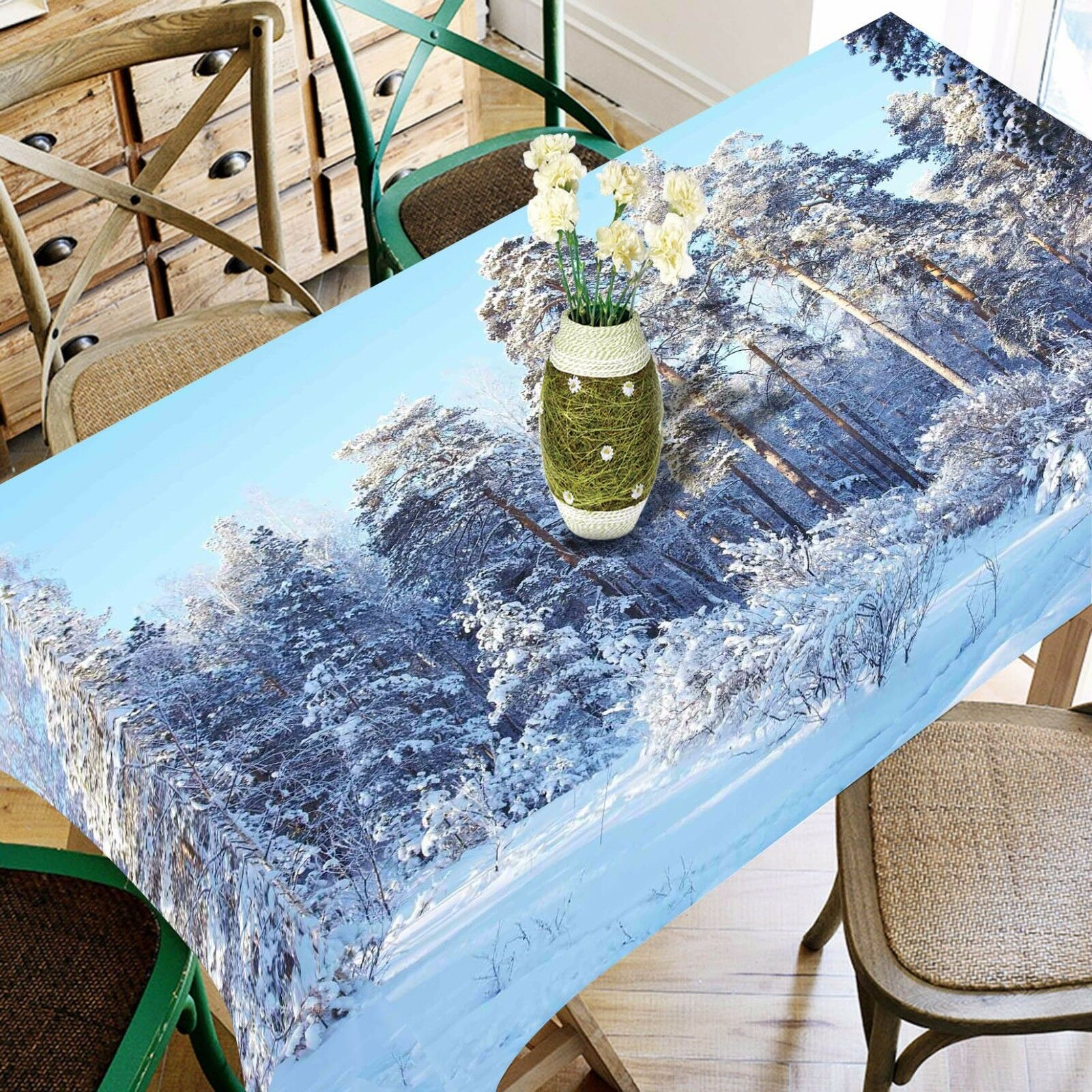 3D Snowy Forest 6 Tablecloth Table Cover Cloth Birthday Party Event AJ WALLPAPER