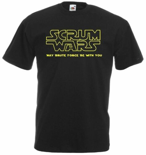 Mens Black Scrum Wars Rugby T-shirt Funny All Nations Geeky T-Shirt