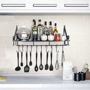 Details About Wall Mount Pot Hanging Rack Kitchen Cookware Storage Organizer Holder 10 Hooks W