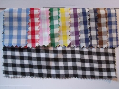 Gingham POLYCOTTON FABRIC blue Red Pink Yellow Green Purple Navy Green Black 1//4