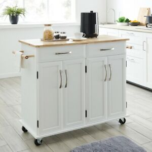 Details About Multi Storage Portable Rolling Kitchen Island Cart With Wheels In White 36 Inch