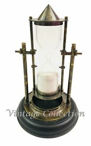 Antique-Maritime-Brass-Rotating-Sand-Timer-Vintage-Nautical-Hourglass-Wood-Base