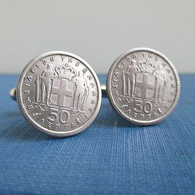 Repurposed Vintage Silver Tone Greek Coin GREECE Coin Tie Tack  Lapel Pin