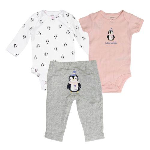 Carter/'s 3 Piece Set for Baby Girls Puppies Penguin One-Piece Bodysuits Pants
