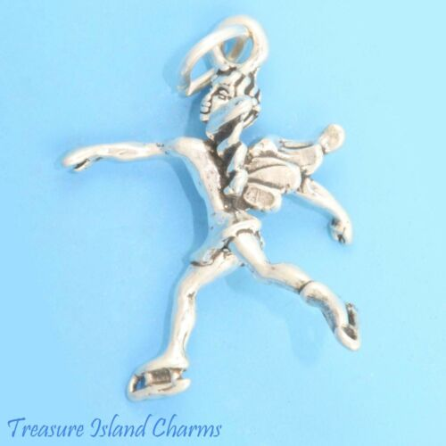 Patin à Glace Ange Gardien Skater 3D 925 Solid Sterling Silver Charm Made in USA
