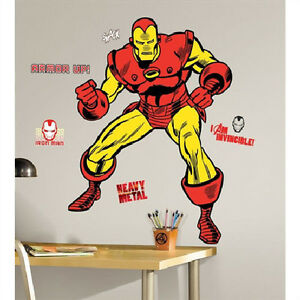 Image Is Loading CLASSIC IRONMAN Wall Stickers MURAL 23 Decals Marvel  Part 41