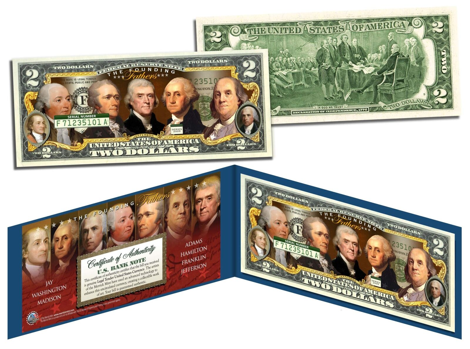 FOUNDING FATHERS OF THE UNITED STATES Colorized Obverse $2 Bill US Legal Tender 1