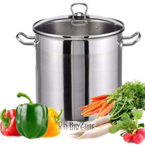 Grande profondeur de cuisson en acier inoxydable Casserole Pot stock couvercle en verre base induction