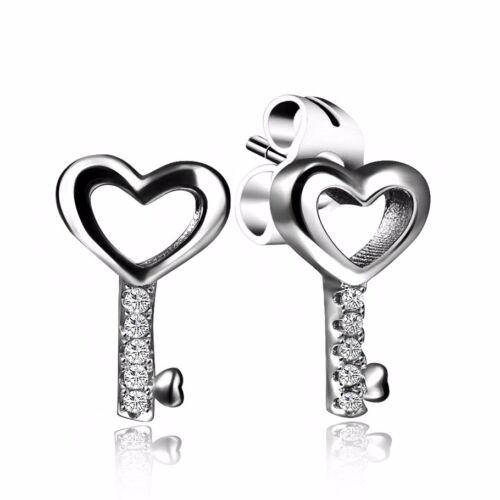 Brand Sterling 925 Silver Ear Stud Dangle Earrings Women CZ Fine Jewelry Gifts