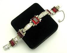 TRIFARI Art Deco Era Ruby Red Emerald Cut Stones Rhinestones Link Bracelet