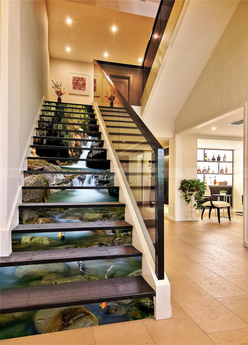 3D Fisch Strom 476 Stair Risers Dekoration Fototapete Vinyl Aufkleber Tapete DE