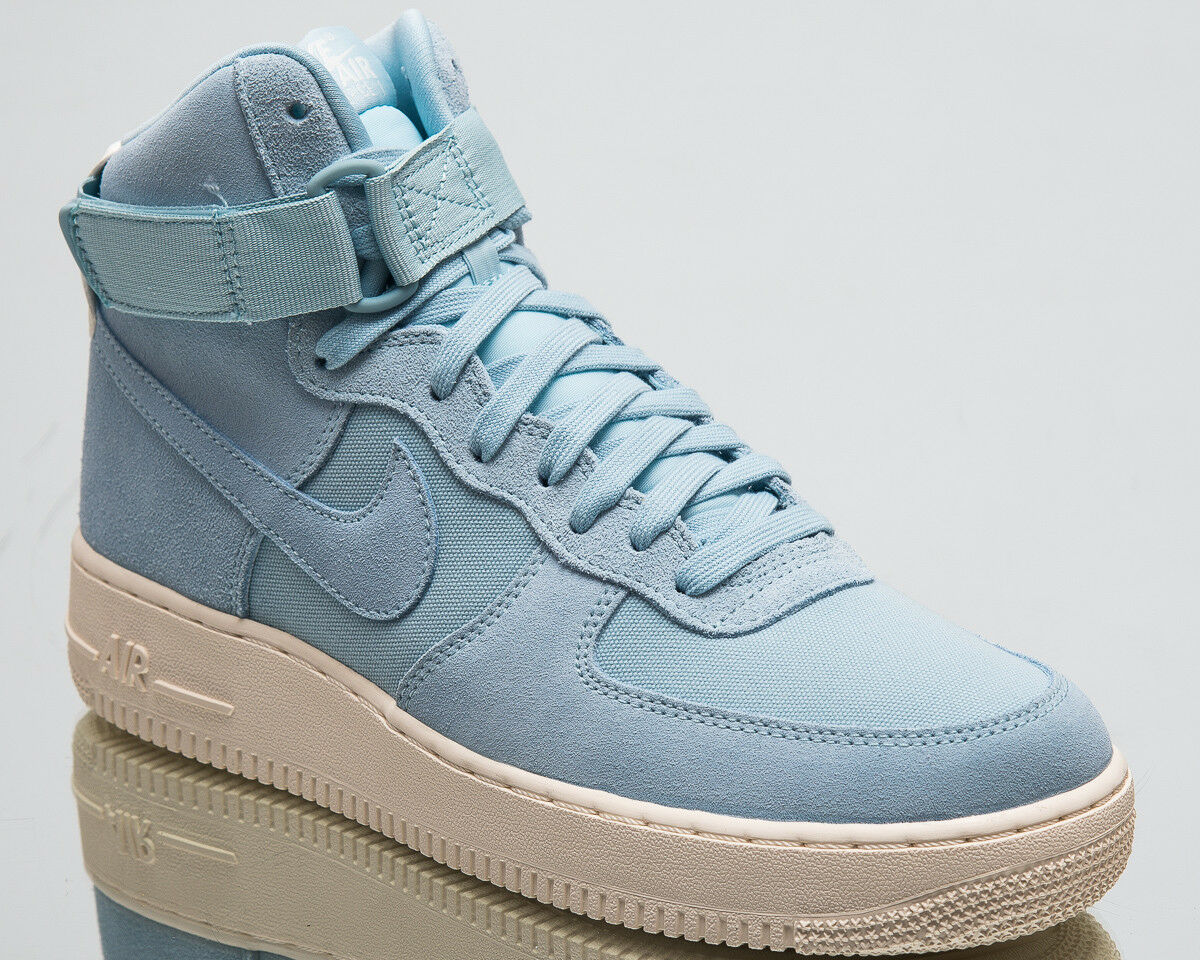 Nike Air Force 1 Hoch '07 Veloursleder Herren Neu Turnschuhe Ozean Bliss Segel
