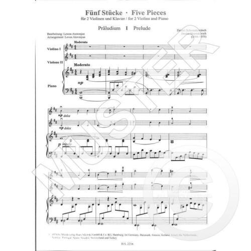 5 Stücke Noten für 2 Violinen und Klavier 2216 Schostakowitsch Dimitri