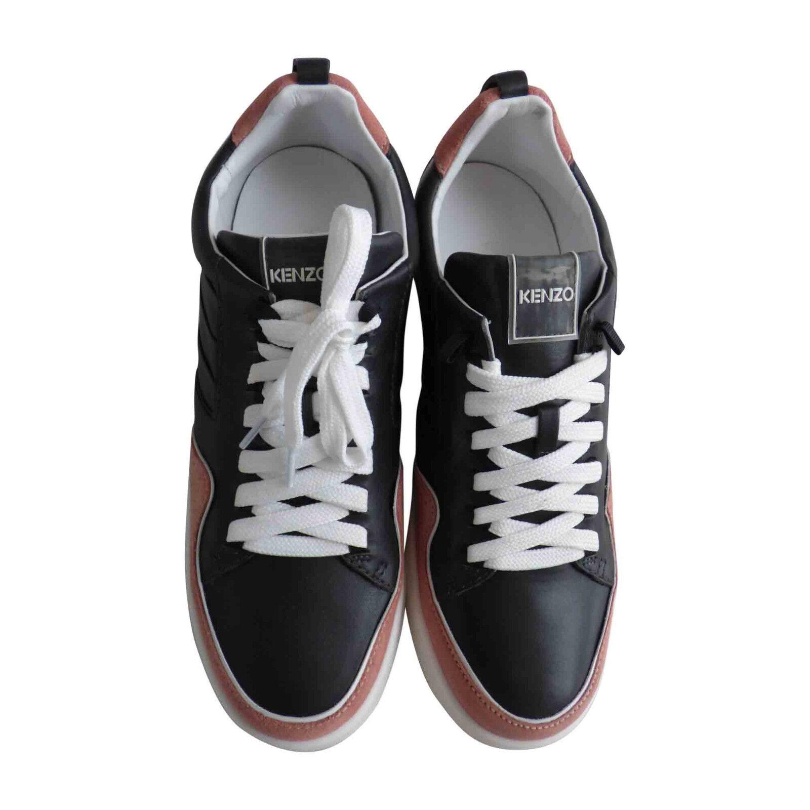 Baskets cuir noir et rose KENZO  Taille 40