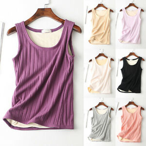 Women-039-s-Tank-Top-Knited-Thermal-Underwear-Vest-Elastic-Lined-Fleece-Warm