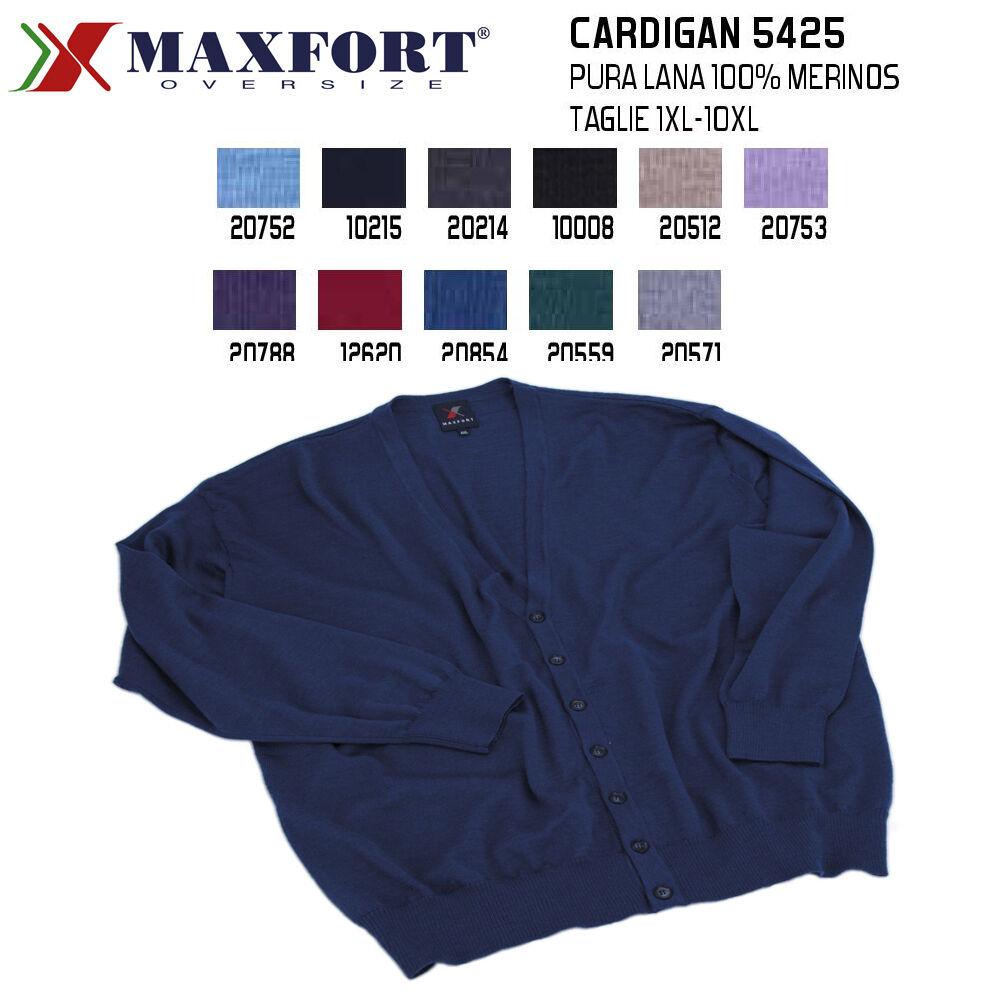 MAXFORT 5425 MAGLIA CARDIGAN PURA LANA MERINOS UOMO TAGLIE FORTI XL 10XL POLO