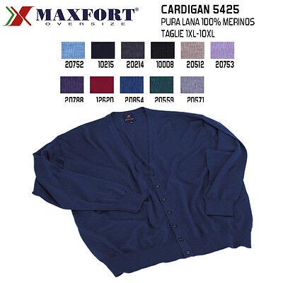 Maxfort Taglie Forti Uomo Maglia Cardigan 5425 Merinos Oversize Plus Size Big