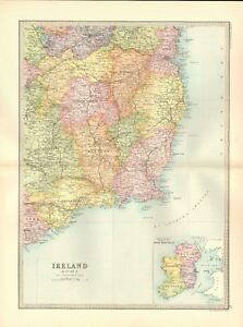 1890 Antique Map Ireland Section 4 South East Wexford Waterford