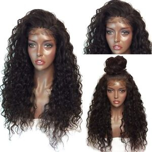 UK Long Full Wavy Front Lace Wig Afro Kinky Curly Natural Hair Wigs ... dfb635f43488