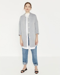 ZARA-Blue-THIN-STRIPE-JACKET-Coat-Size-LARGE-UK-12-Blogger