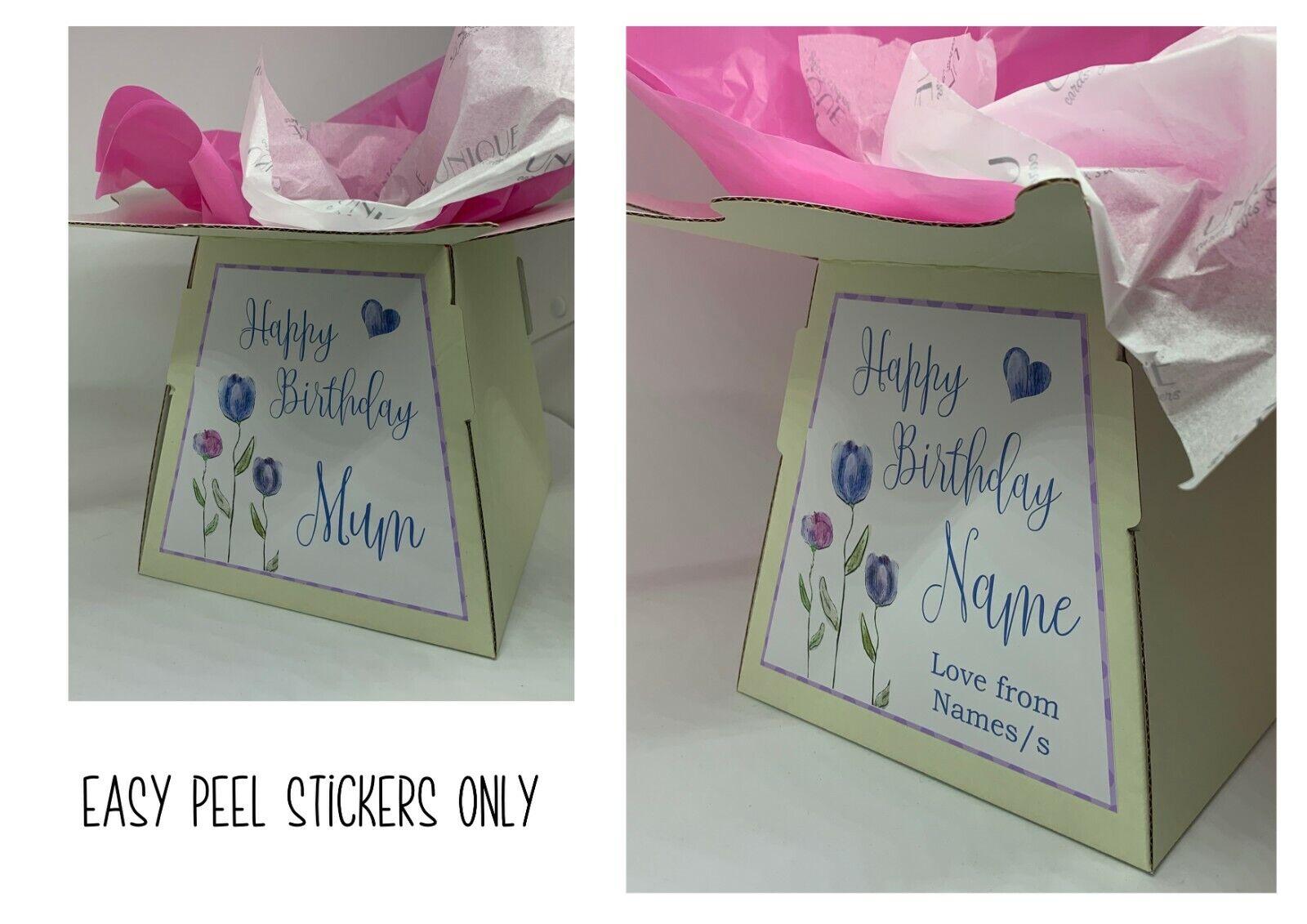 Etiqueta engomada de la caja de regalo   Caja De Flores Ramo de caja de la etiqueta engomada de la etiqueta engomada     Feliz Cumpleaños