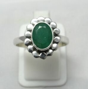 Natural-Emerald-925-Sterling-Silver-Ring-Size-US-8-1-2-Gemstone-Ring-R0107