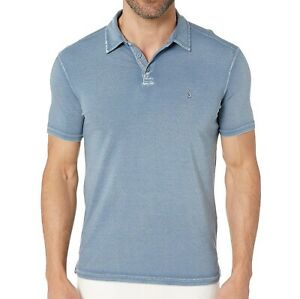 John-Varvatos-Men-039-s-Short-Sleeve-Peace-Sign-Polo-Shirt-Reverse-Print-Dutch-Blue