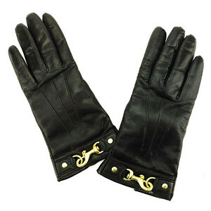 Coach-gloves-Black-Gold-Woman-Authentic-Used-L1602
