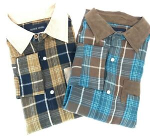Stone-Creek-Mens-M-Lot-2-Plaid-Snap-Button-Long-Sleeve-Shirts-Reinforced-Elbow