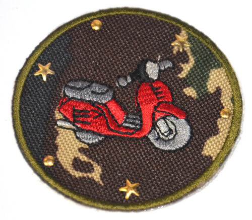 RED VESPA SCOOTER MOTORCYCLE Embroidered Iron Sew On Cloth Patch Badge APPLIQUE