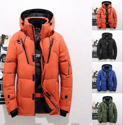 New Mens Warm Duck Down Jacket Fur Collar Thick Winter Hooded Coat Outwear Parka