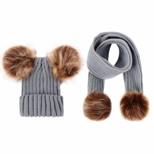 2PCS Knitted Baby Beanie Hat Scarf Set Girl Boy Winter Warm Cap Baby Accessories