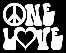 ONE LOVE Vinyl Decal Sticker Car Window Wall Bumper Peace Symbol Heart Reggae