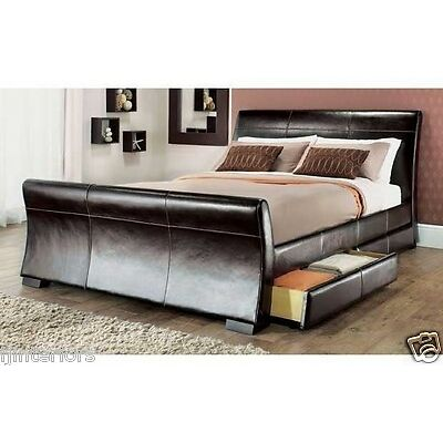 4 DRAWERS LEATHER STORAGE SLEIGH BED DOUBLE OR KING SIZE BEDS + MEMORY MATTRESS