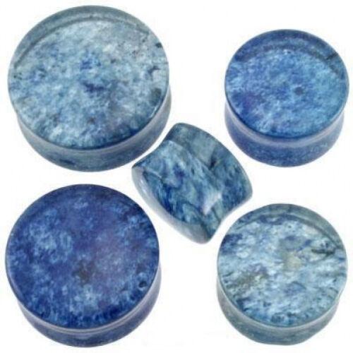 "1 Pair GIANT 7//8/"" Organic Blue Murano Glass Saddle Plugs Ear Double Flare Gauge"