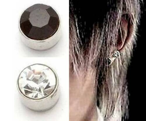 5 Mm Magnético Cristal Stud Rhinestone pendientes black//clear non perforado 1 X Par