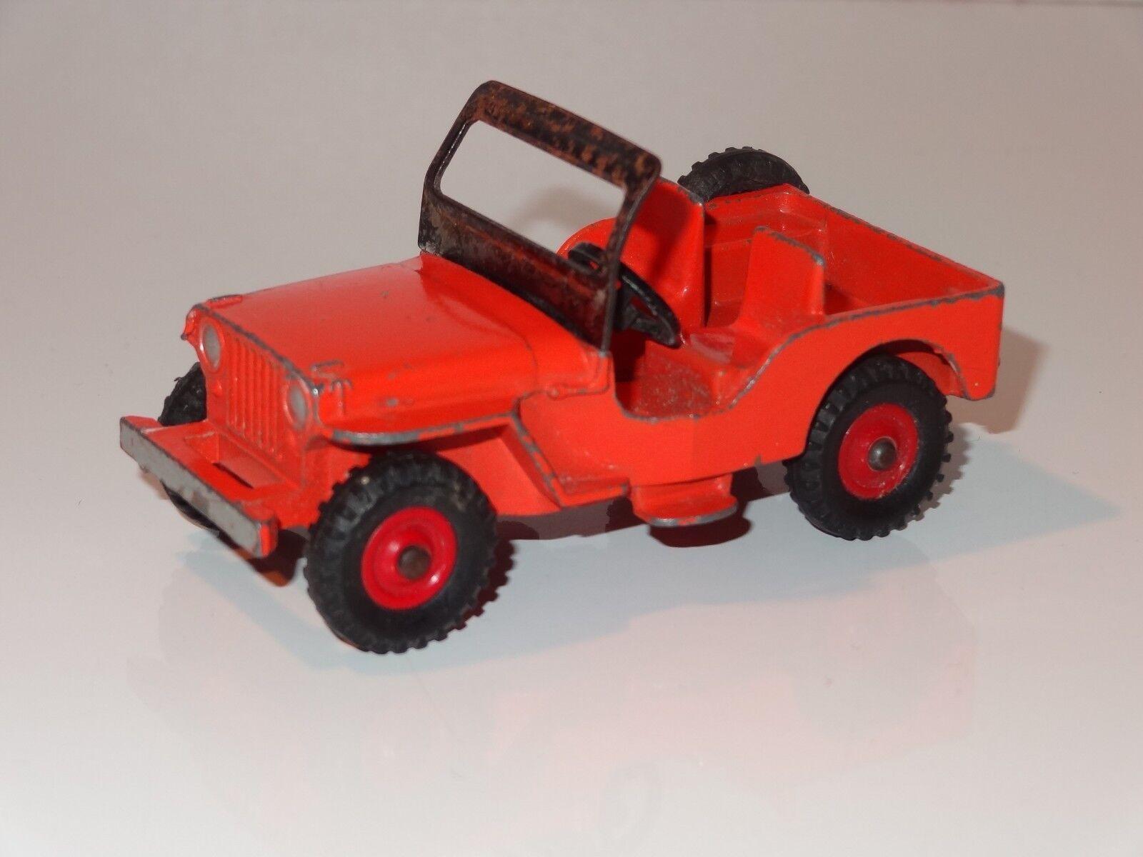 ST  DINKY JEEP UNIVERSALE - 405 MOLTO RARA Arancione & Rosso mozzi in plastica