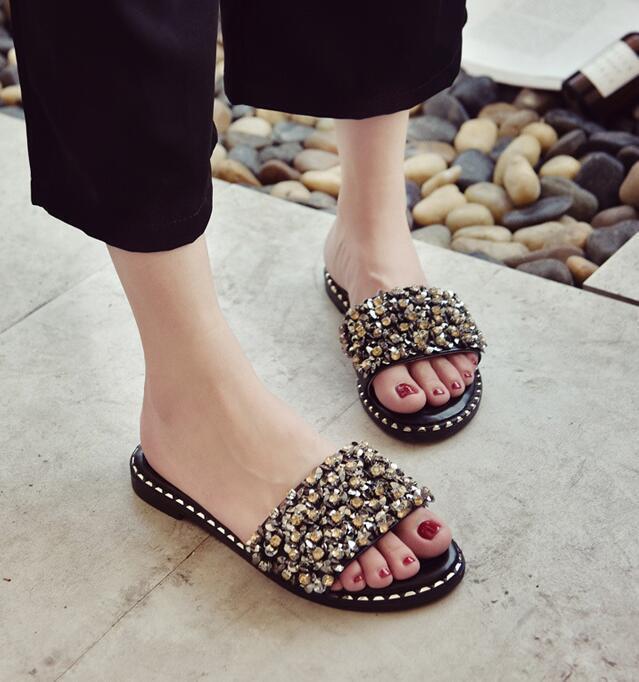 Bling Blimg Women Sequins Slippers White Shoes Flats Summer Black White Slippers Mules Sandals bc9e15
