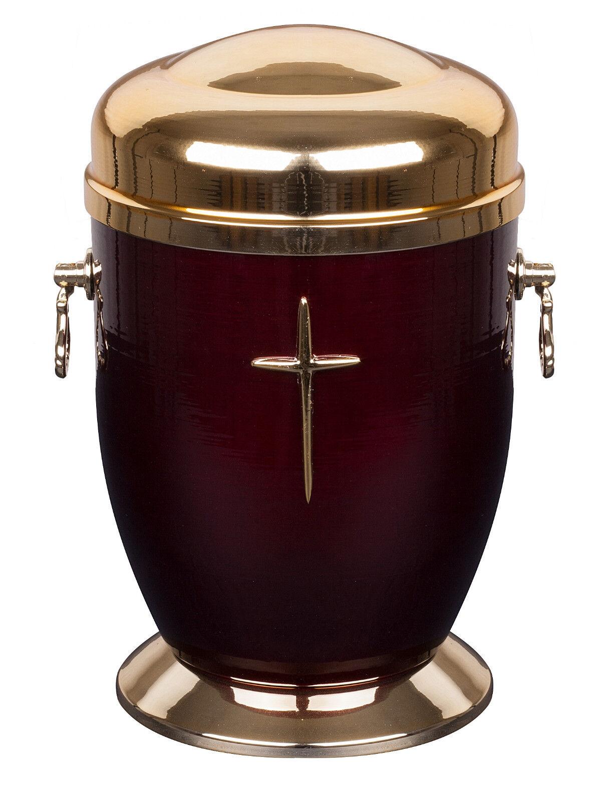 BELLISSIMO rot METALLO Urna cremazione per ceneri con croce MEMORIALE adulto