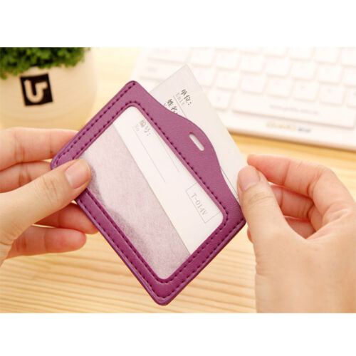 Durable Vertical ID Badge Holder Vinyl Case Clear with Color Border